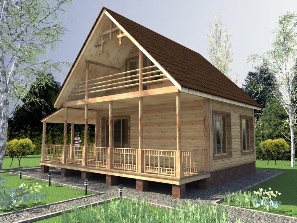 Проект дома эконом класса 6 на 8 + терраса