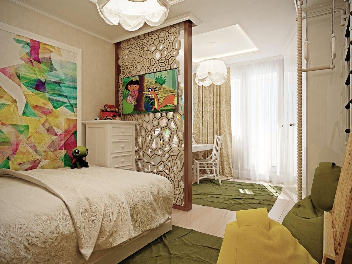 Как в одной комнате сделать две зоны: спальню 57