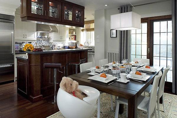 Foto\'s van de keuken in combinatie met de woonkamer. Ontwerp van ...